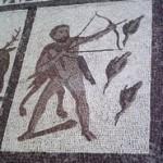 Ο Ηρακλής και οι Στυμφαλίδες όρνιθες. Λεπτομέρεια από ρωμαϊκό μωσαϊκό στη Llíria (Ισπανία)